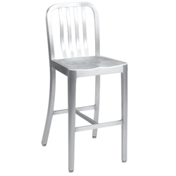 Brushed Aluminum Outdoor Restaurant Bar Stool with Spindles