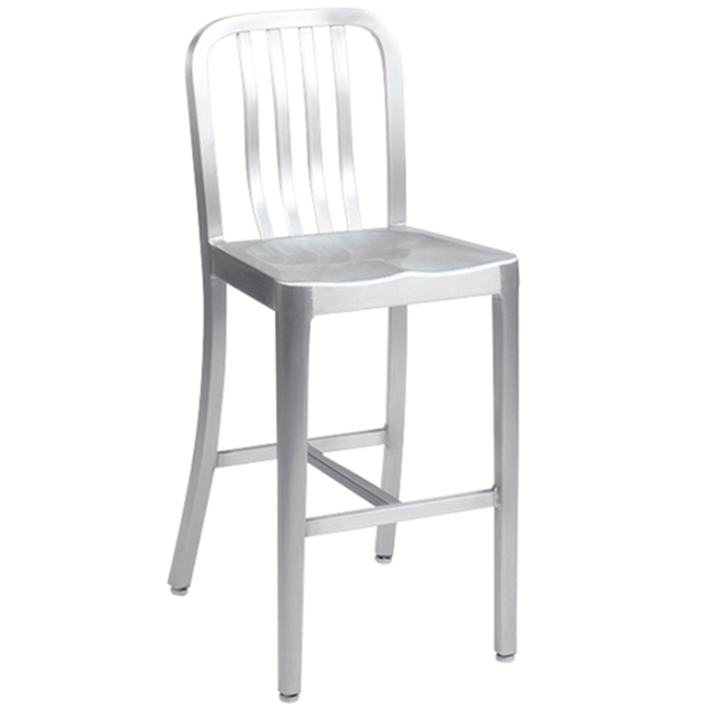 Brushed Aluminum Outdoor Restaurant Bar Stool with Spindles - Moda Seating Corp