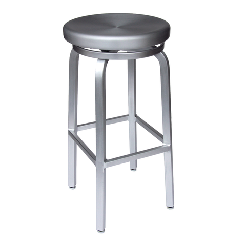 Brushed Aluminum Backless Swivel Restaurant Bar Stool