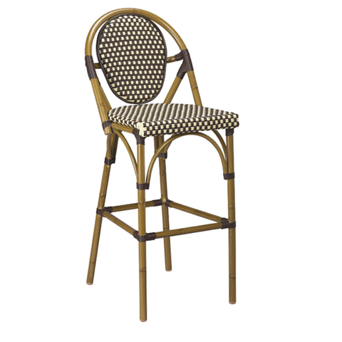 Dainty Aluminum And Cane Light Walnut Circle Back Outdoor Restaurant Bar Stool - Moda Seating Corp