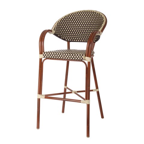 Aluminum And Cane Mahogany Bistro Outdoor Restaurant Bar Stool - Moda Seating Corp