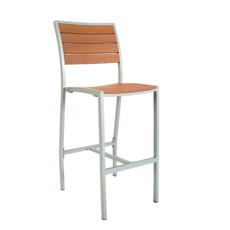 Aluminum Outdoor Restaurant Bar Stool with Imitation Teak Slats, Grey Finish Frame - Moda Seating Corp