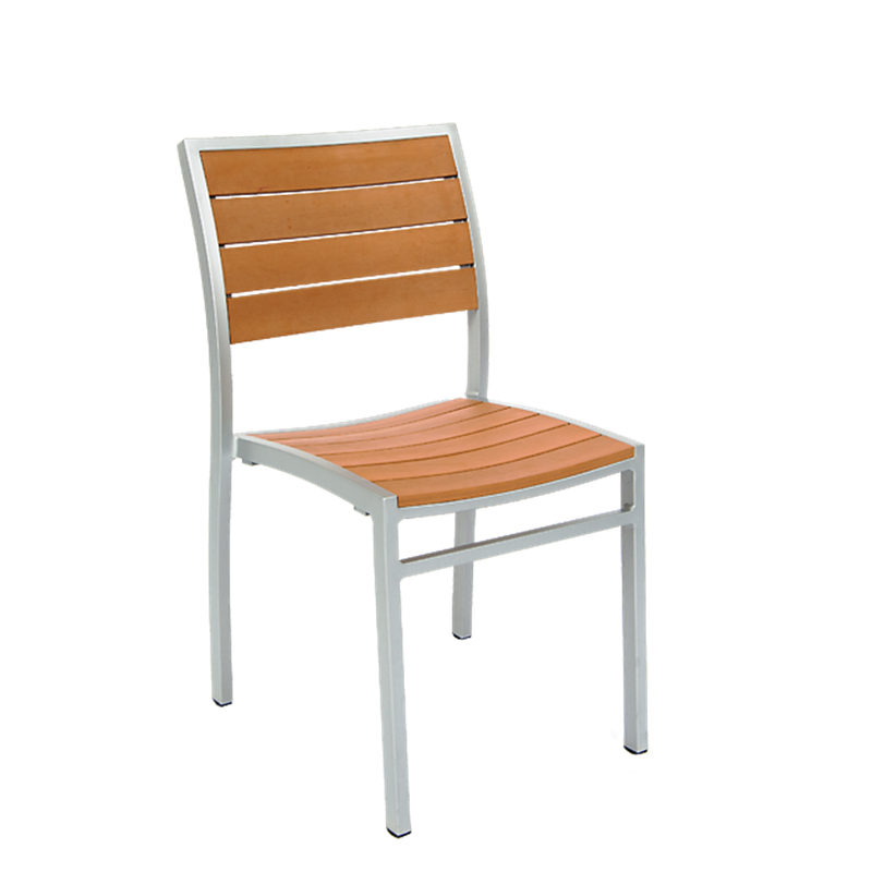 Outdoor Aluminum Restaurant Chair with Rust Imitation Teak Slats, Grey Finish Frame - Moda Seating Corp