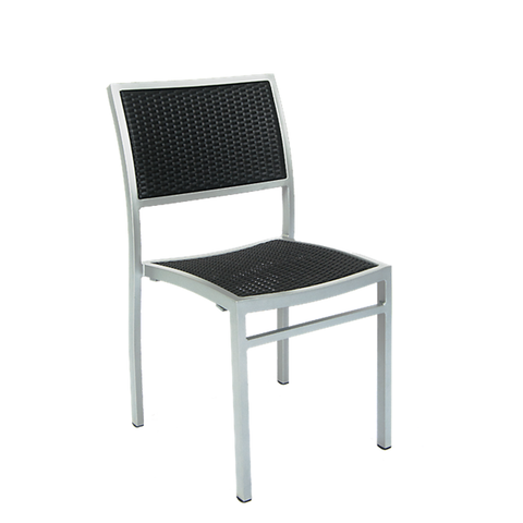 Outdoor Aluminum Restaurant Armchair, Synthetic Wicker Woven Black - 75-DQSU
