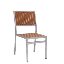 Outdoor Aluminum Restaurant Side Chair With Vertical Imitation Teak