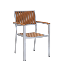 Outdoor Aluminum Restaurant Arm Chair With Vertical Imitation Teak