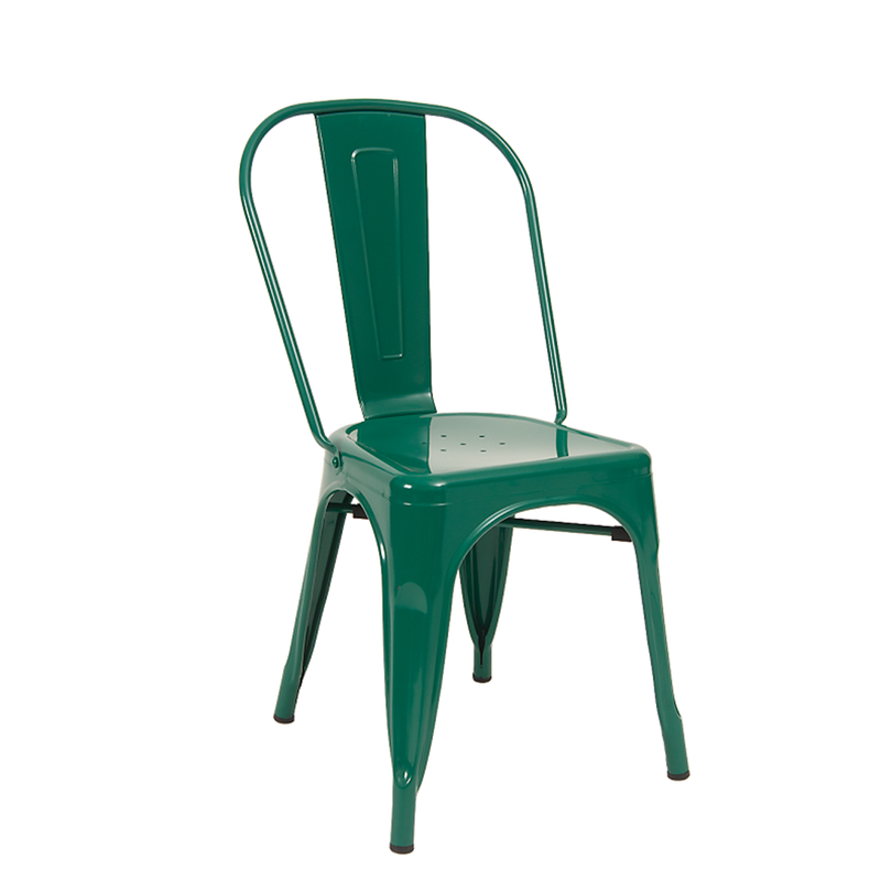 Indoor Metal Restaurant Chair in Green Finish