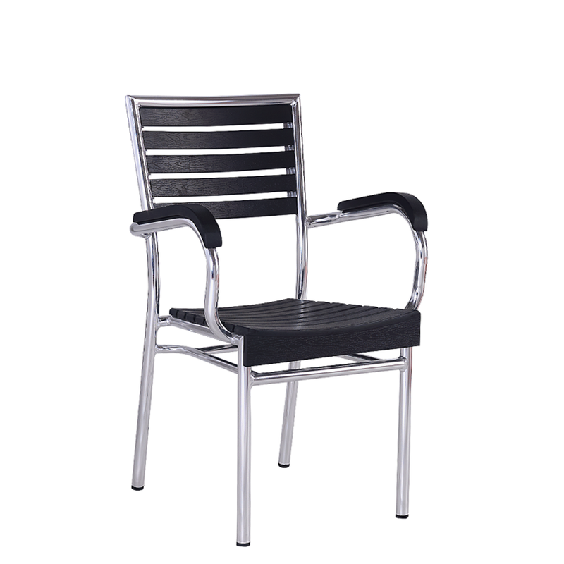 Aluminum Outdoor Restsaurant Arm Chair With Black Imitation Teak
