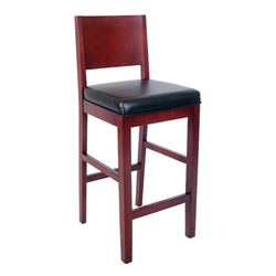 Solid Beechwood Restaurant Barstool with Black Vinyl Seat