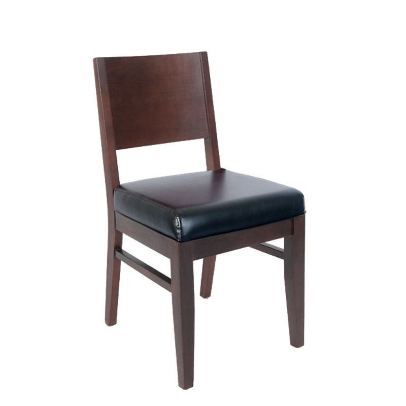 Solid BeechWood Indoor Restaurant Chair with Black Vinyl Seat - Moda Seating Corp