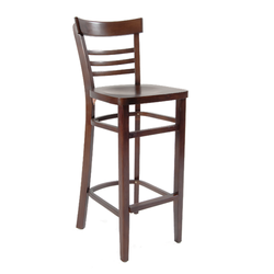 Solid Beechwood Indoor Restaurant Barstool in Walnut Finish with Veneer Seat in Walnut