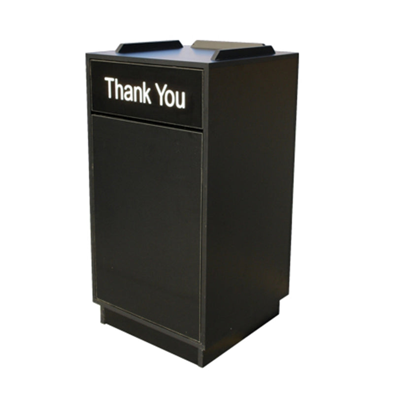 Black Trash Receptacle for Restaurant