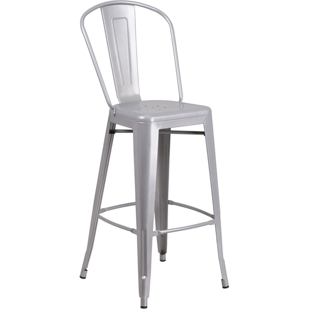 "30"" High Silver Metal Indoor-Outdoor Barstool with Back"