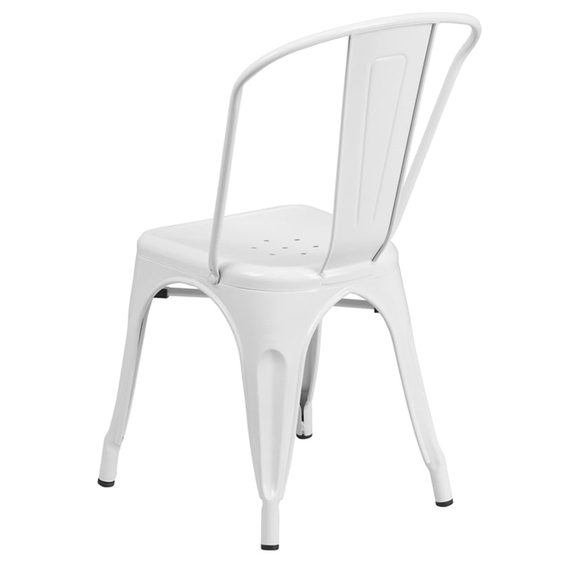 White Metal Indoor-Outdoor Stackable Chair - Moda Seating Corp