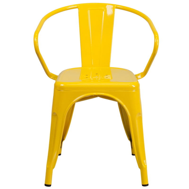 Yellow Metal Indoor-Outdoor Chair with Arms - Moda Seating Corp