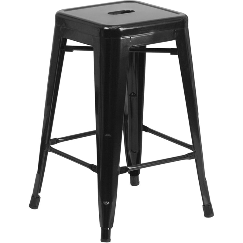 "24"" High Backless Black Metal Indoor-Outdoor Counter Height Stool with Square Seat"