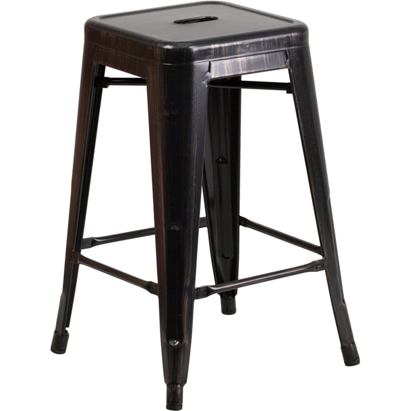 "24"" High Backless Black-Antique Gold Metal Indoor-Outdoor Counter Height Stool with Square Seat - Moda Seating Corp"