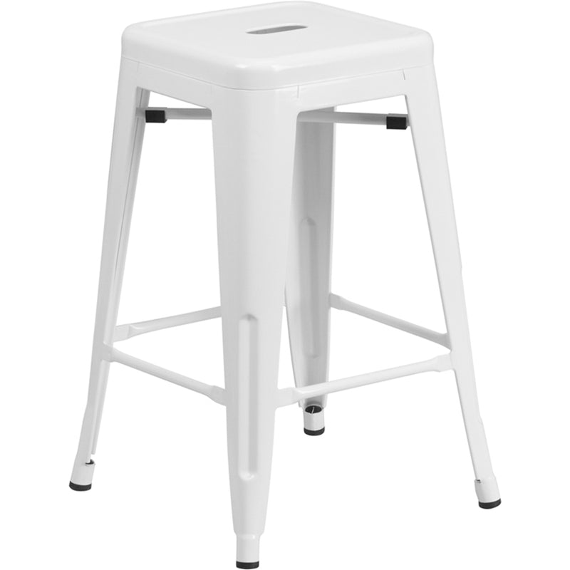 "24"" High Backless White Metal Indoor-Outdoor Counter Height Stool with Square Seat"