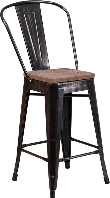 "24"" High Black-Antique Gold Metal Counter Height Stool with Back and Wood Seat - Moda Seating Corp"