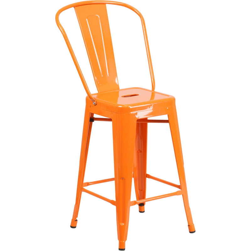 "24"" High Orange Metal Indoor-Outdoor Counter Height Stool with Back - Moda Seating Corp"