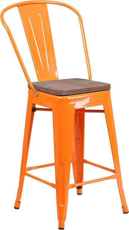 "24"" High Orange Metal Counter Height Stool with Back and Wood Seat - Moda Seating Corp"