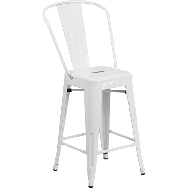 "24"" High White Metal Indoor-Outdoor Counter Height Stool with Back"