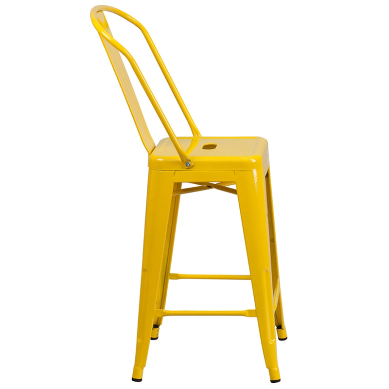 "24"" High Yellow Metal Indoor-Outdoor Counter Height Stool with Back - Moda Seating Corp"