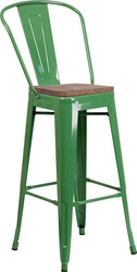 "30"" High Green Metal Barstool with Back and Wood Seat"
