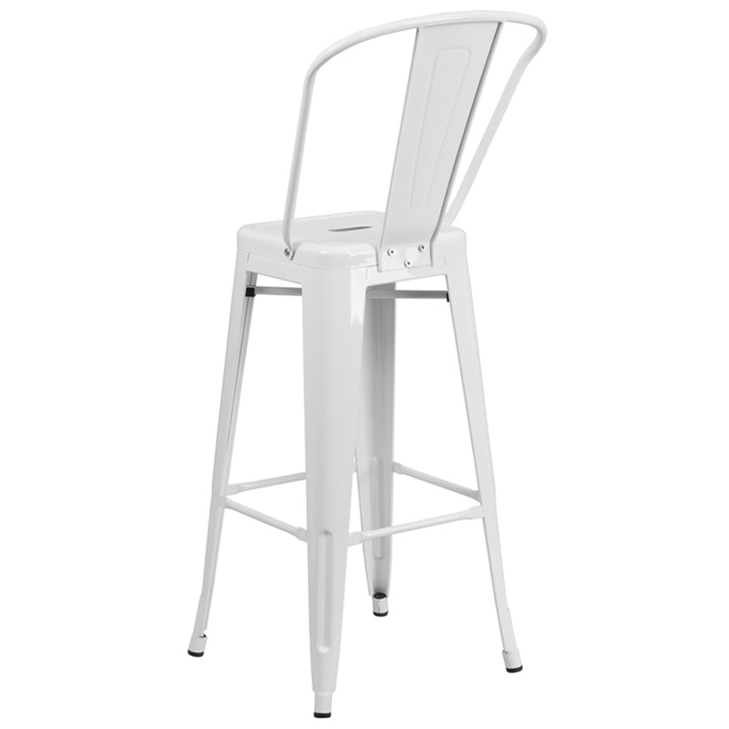 "30"" High White Metal Indoor-Outdoor Barstool with Back - Moda Seating Corp"
