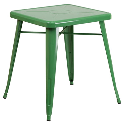 "23.75"" Square Green Metal Indoor-Outdoor Table - Moda Seating Corp"