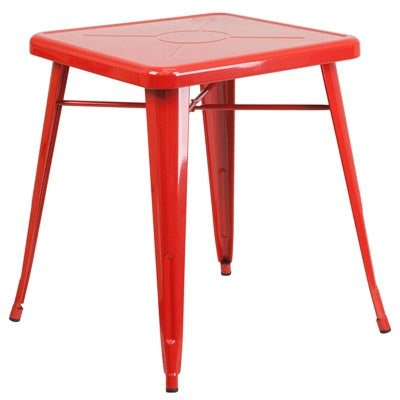 "23.75"" Square Red Metal Indoor-Outdoor Table - Moda Seating Corp"