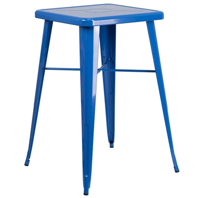 "23.75"" Square Blue Metal Indoor-Outdoor Bar Height Table - Moda Seating Corp"