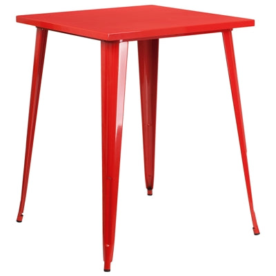 "31.5"" Square Red Metal Indoor-Outdoor Bar Height Table - Moda Seating Corp"