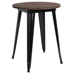 "24"" Round Black Metal Indoor Table with Walnut Rustic Wood Top - Moda Seating Corp"