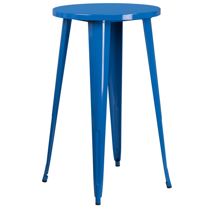 "24"" Round Blue Metal Indoor-Outdoor Bar Height Table - Moda Seating Corp"