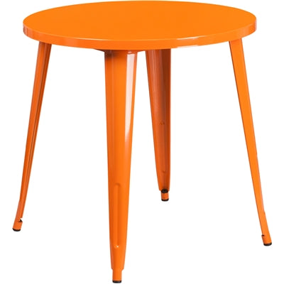 "30"" Round Orange Metal Indoor-Outdoor Table - Moda Seating Corp"
