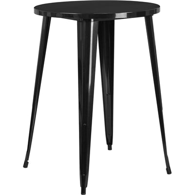 "30"" Round Black Metal Indoor-Outdoor Bar Height Table - Moda Seating Corp"