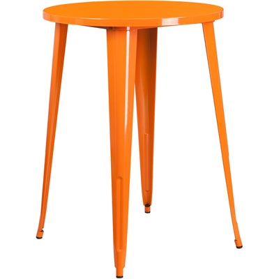 "30"" Round Orange Metal Indoor-Outdoor Bar Height Table - Moda Seating Corp"