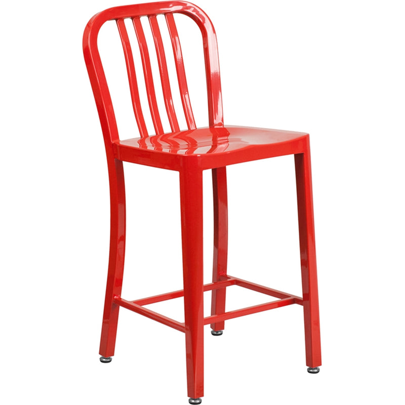 "24"" High Red Metal Indoor-Outdoor Counter Height Stool with Vertical Slat Back - Moda Seating Corp"