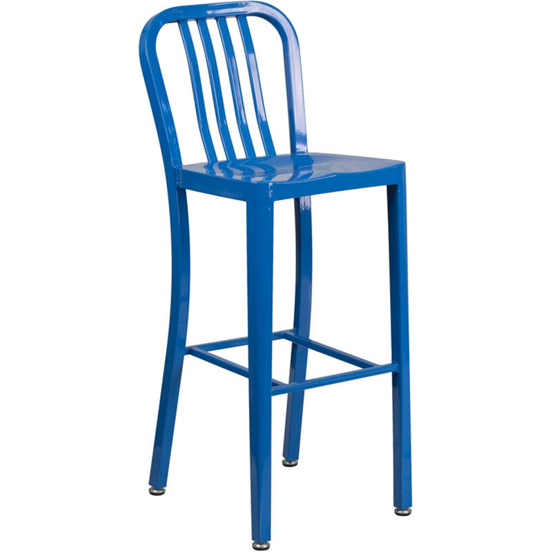 "30"" High Blue Metal Indoor-Outdoor Barstool with Vertical Slat Back - Moda Seating Corp"