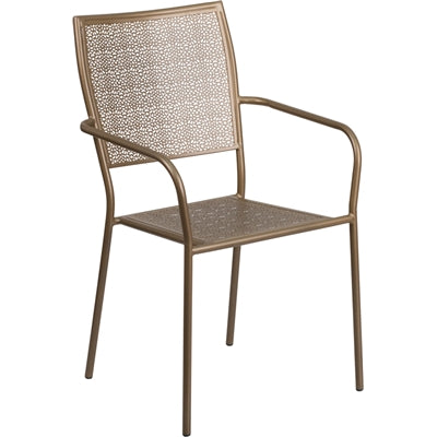 Gold Indoor-Outdoor Steel Patio Arm Chair with Square Back - Moda Seating Corp