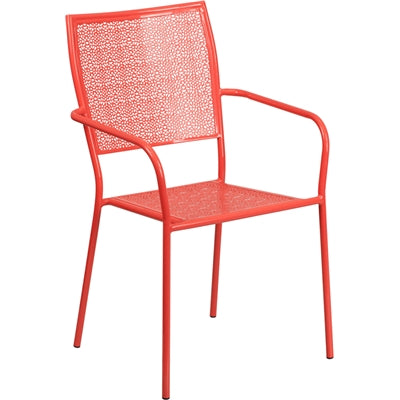 Coral Indoor-Outdoor Steel Patio Arm Chair with Square Back - Moda Seating Corp