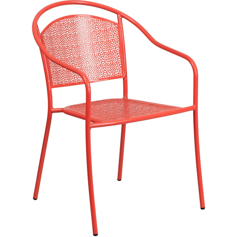 Coral Indoor-Outdoor Steel Patio Arm Chair with Round Back - Moda Seating Corp