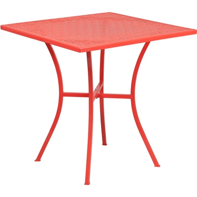 "28"" Square Coral Indoor-Outdoor Steel Patio Table - Moda Seating Corp"