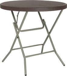 31.5'' Round Brown Rattan Plastic Folding Table