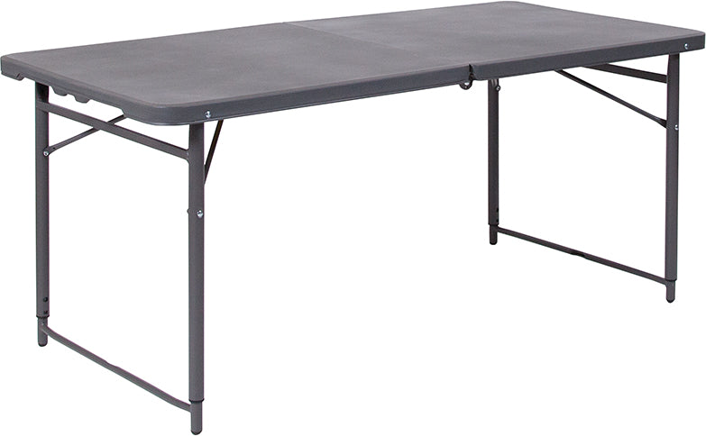 "23.5""W x 48.25""L Height Adjustable Bi-Fold Dark Gray Plastic Folding Table with Carrying Handle - Moda Seating Corp"