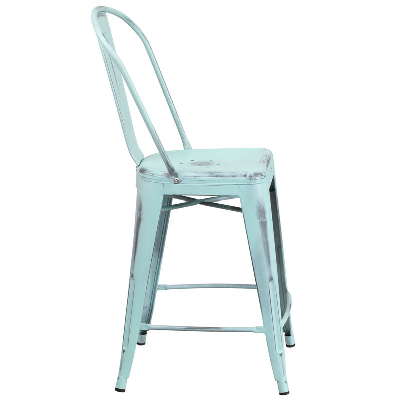 "Commercial Grade 24"" High Distressed Green-Blue Metal Indoor-Outdoor Counter Height Stool with Back"
