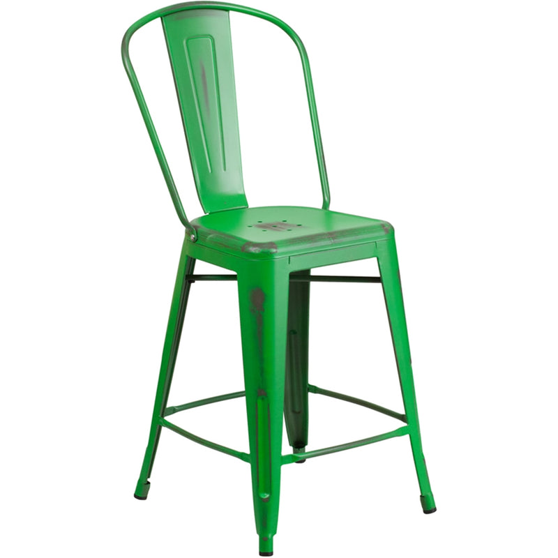 "24"" High Distressed Green Metal Indoor-Outdoor Counter Height Stool with Back - Moda Seating Corp"