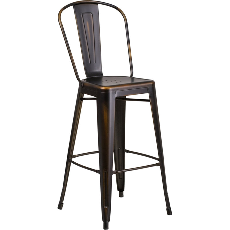 "30"" High Distressed Copper Metal Indoor-Outdoor Barstool with Back"