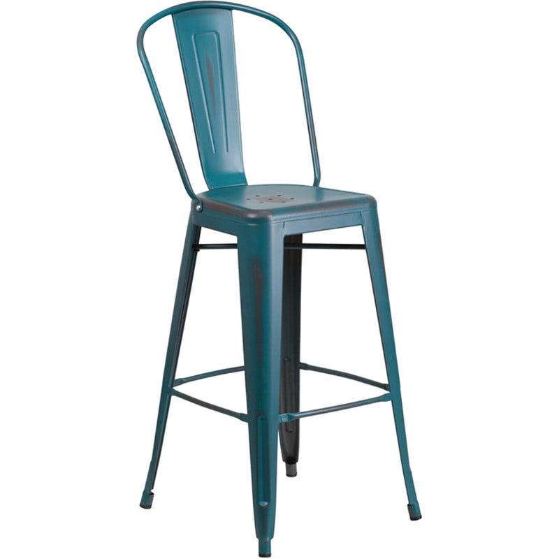 "30"" High Distressed Kelly Blue-Teal Metal Indoor-Outdoor Barstool with Back"